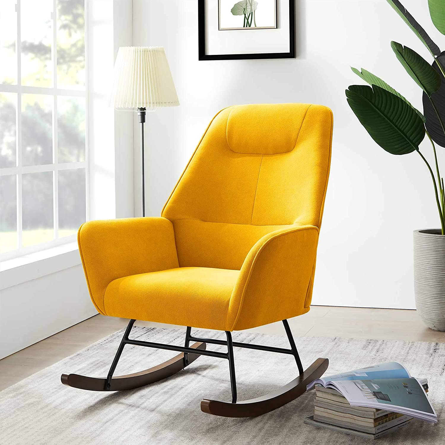 Tribesigns Rocking Chair, Modern Accent Chair, Fabric Arm Chair for Bedroom Living Room (Yellow)