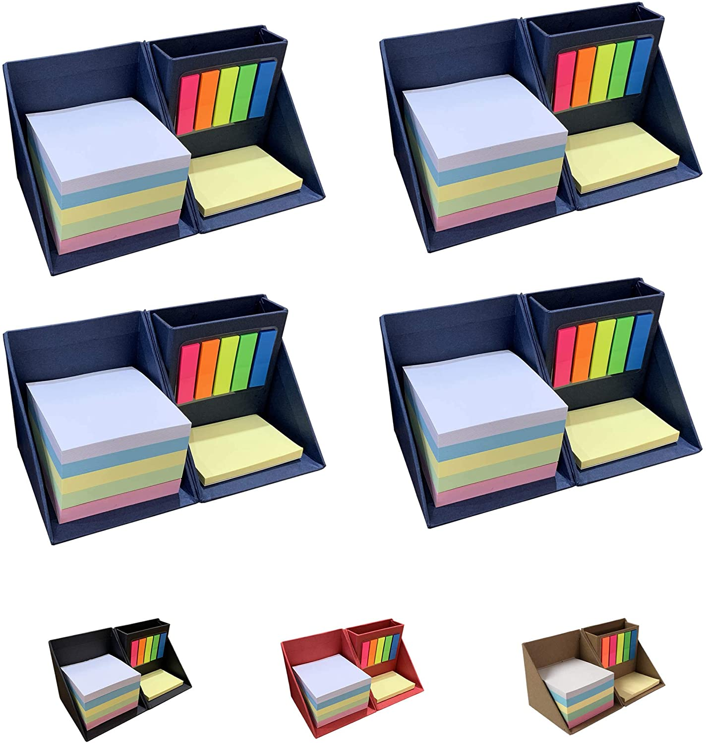 Better One 4U - Sticky Notes Holder with Pen Holder, Desk Organizer, Desktop Storage Box with Colorful Sticky Notes and Index Tabs, Organize Your Desktop Easily (4 Pack, Blue)