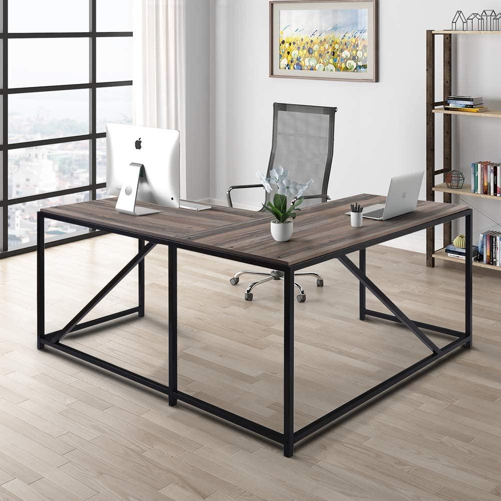 L-Shaped Desk with Storage Shelves Corner Computer Desk Metal and Walnut Wood Home Gaming Desk for Home Office Study