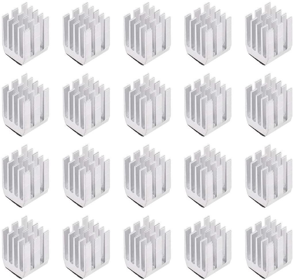 uxcell 12x9x9mm Silver Tone Aluminum Heatsink Self Adhesive Pad Cooler for Cooling 3D Printers 20Pcs