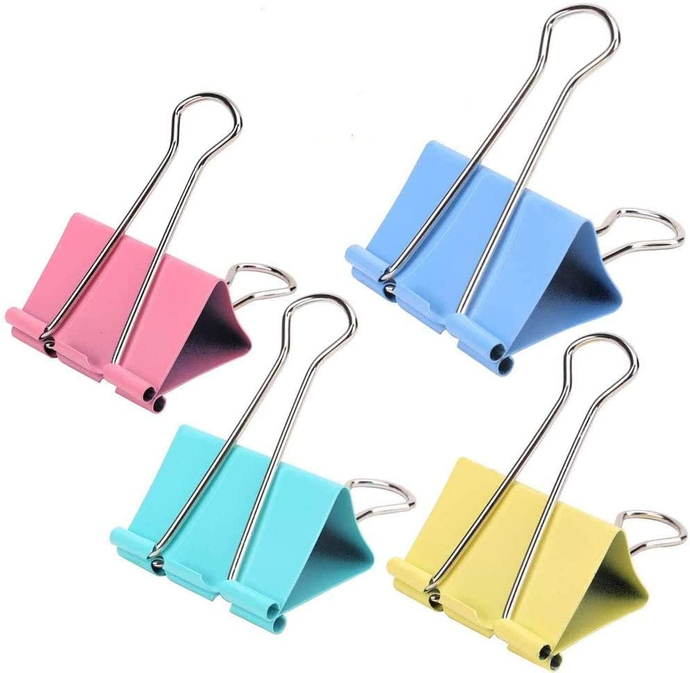 24Pieces Extra Binder Clips,2 Inch Width,Paper Clips Extra Large for Office Supplies (Colors)