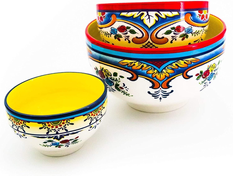 Euro 3-Piece Mixing Bowl Set Blue Multi Color Yellow Floral Ceramic 3 Piece Dishwasher Safe Microwave