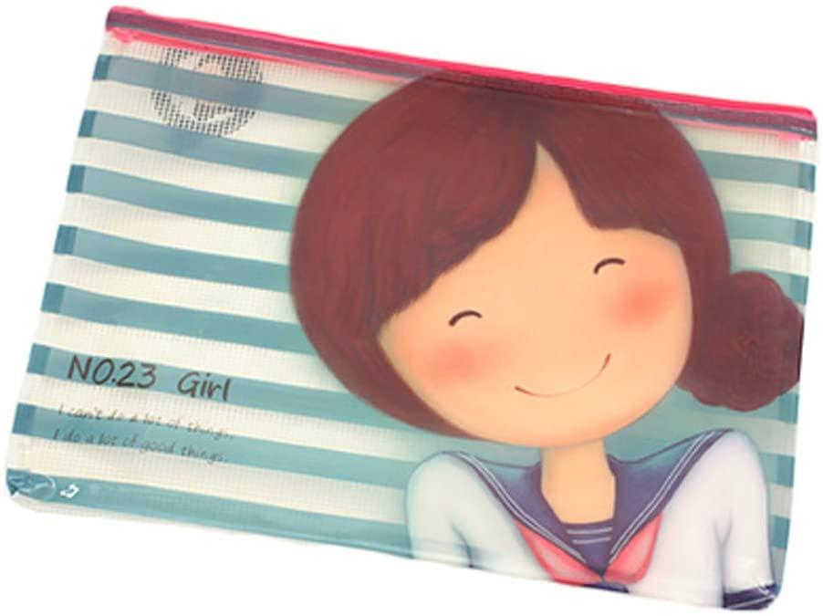 Cute Document File Stationery PVC Zipper Bag Holder Pocket Pouch - Blue Stripe