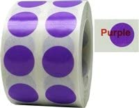 Purple Transparent Color Coding Labels for Organizing Inventory 0.50 Inch Round Circle Dots 1,000 Total Adhesive Stickers On A Roll