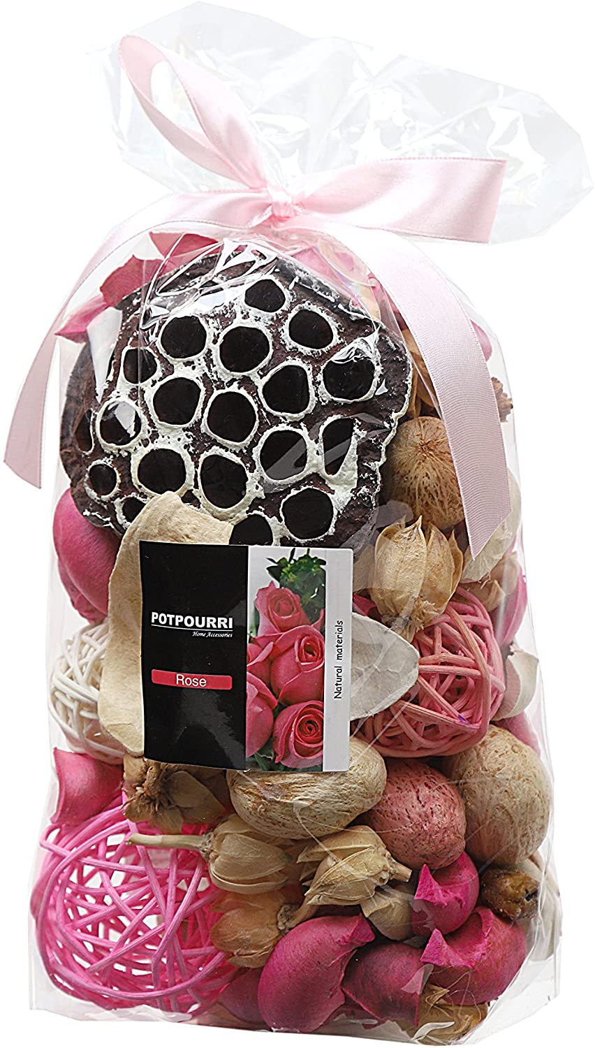 Qingbei Rina Pink Rose Scent Summer Potpourri Dried Flowers,Perfume Sachet, Decorative Bag with Rattan Balls,Lotus Pods, Pine Cones,Dried Plants and Flowers Volume of 60 Oz