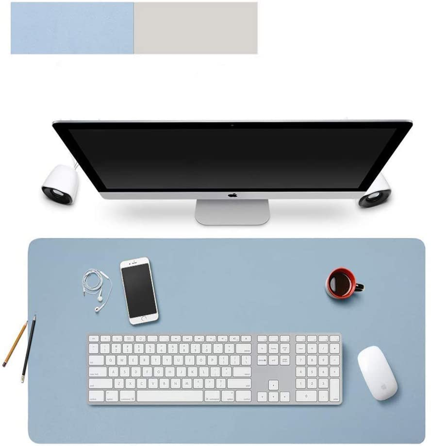 Lurowo Multifunctional Office Desk Pad Leather Computer Mouse Mat Extended Gaming Mouse Pad, Non-Slip Waterproof Dual-Side Use Writing Surface Desk Protector, 31.5'' X 15.7''(Blue,Silver)