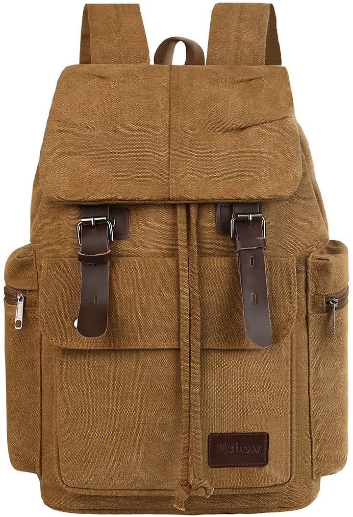 Eshow Canvas Laptop Backpack Vintage Bookbag Travel Laptops Rucksack School College Bag for Men Women