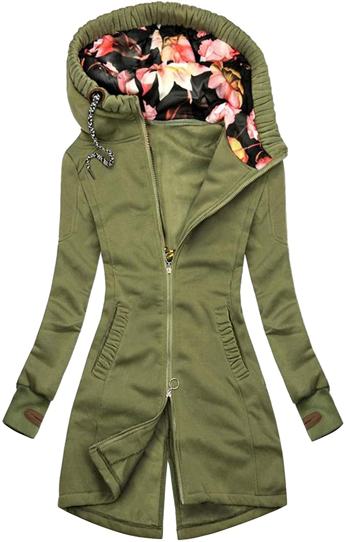NANDIYNZHI Women Sweatshirt Coat Floral Print Long Sleeve Patchwork Pocket Fashion Hooded Jacket Outwear Plus Size Tunic