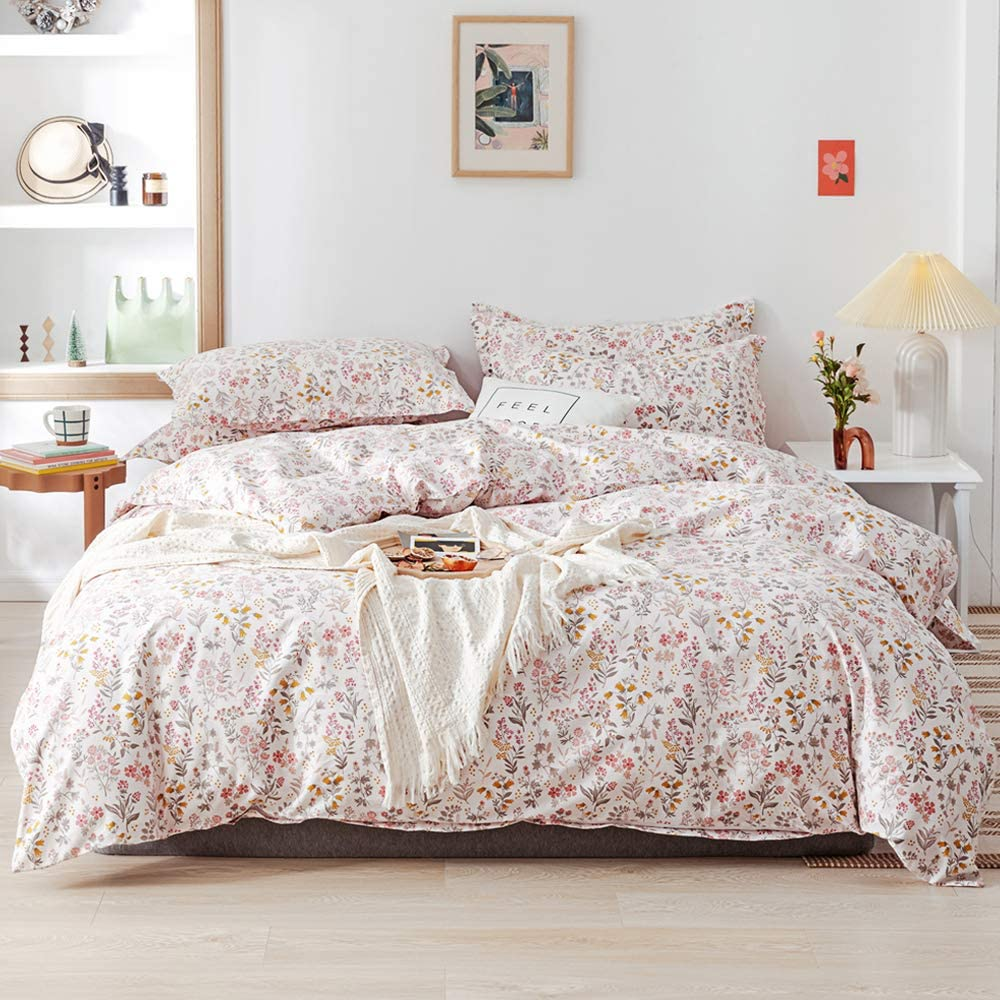 EAVD Garden Botanical Duvet Cover King Ultra-Soft 100% Cotton White Bedding Duvet Cover with 2 Pillowcases Chic Pink Yellow Floral Print Reversible Duvet Cover with Zipper Closure 4 Corner Ties