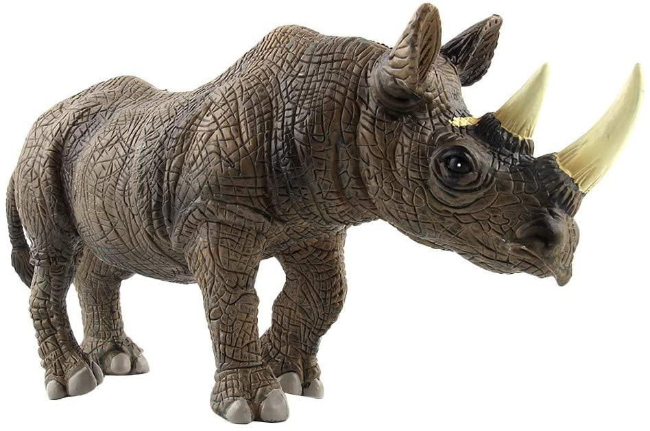 Educational Science Rhinoceros Animal Model Ornament Figurine Toy for Kids Gift, Toys and Hobbies (Gray)