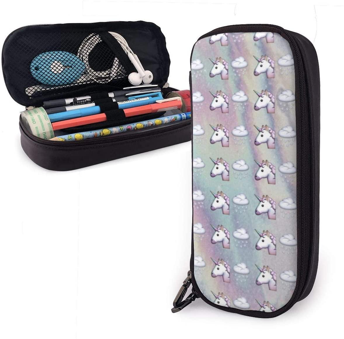 NiYoung Stylish Pen Bag Holder Rainbow Cute Unicorn Head Art Pen Case Box Zipper School Office Supplies Coin Organizer Cosmetic Bag - One Pocket Travel Accessories Back to School