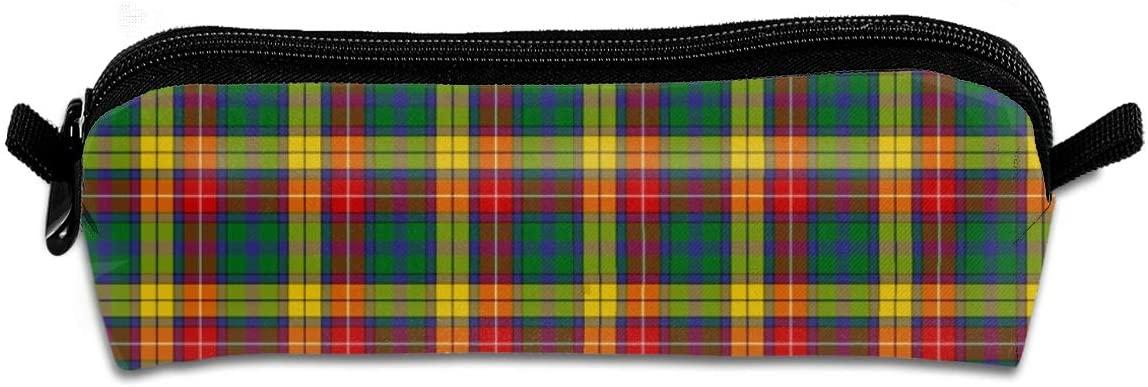 NiYoung Compact Zipper Pencil Case 1 Pack Retro Ed Tile Clan Scotland Buchanan Tartan Abstract Woven