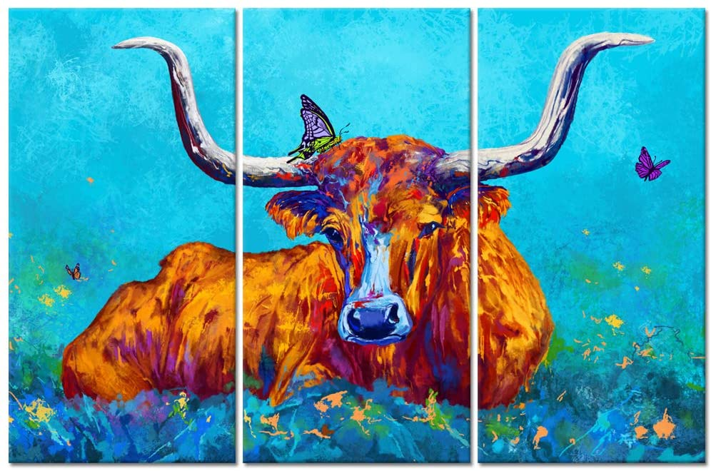 Welmeco 3 Pieces Texas Longhorn Painting Giclee Prints Gallery Canvas Wrapped Attractive Blue Picture Ready to Hang for Living Room Bedroom Home Office Decoration