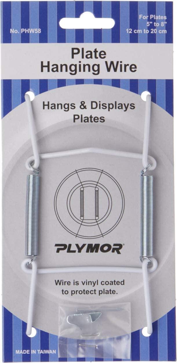 Plymor White Vinyl Finish Wall Mountable Plate Hanger (3 Pack), 4.625