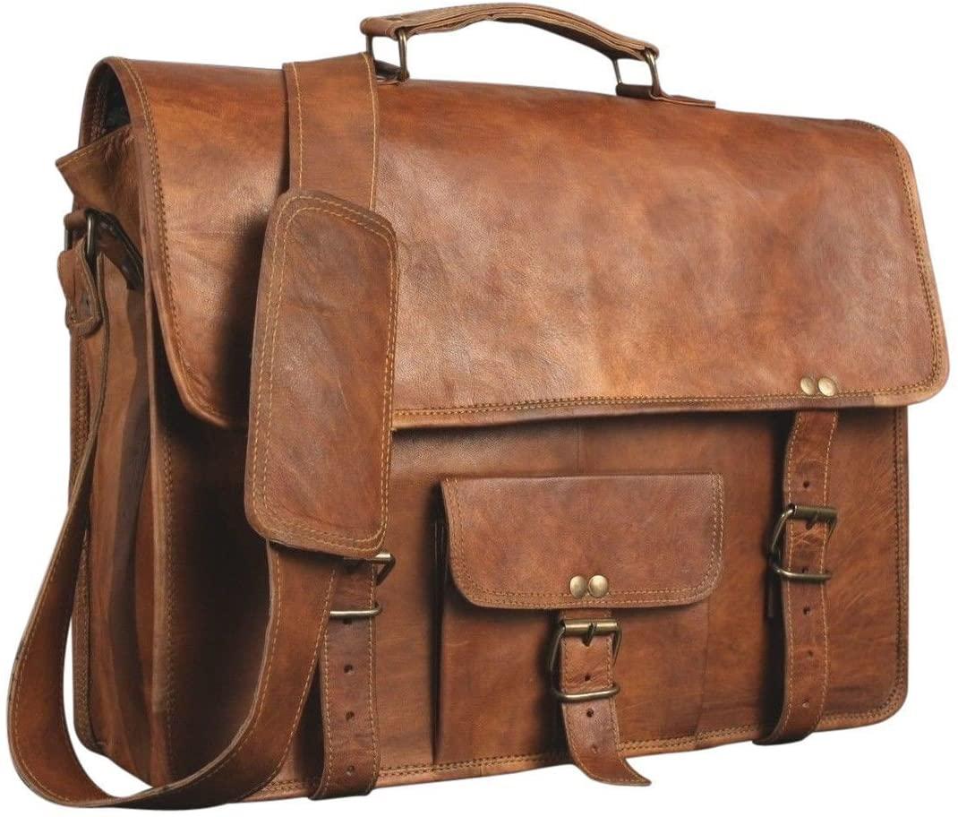 Leather Messenger Laptop Briefcase Satchel Mens Bag