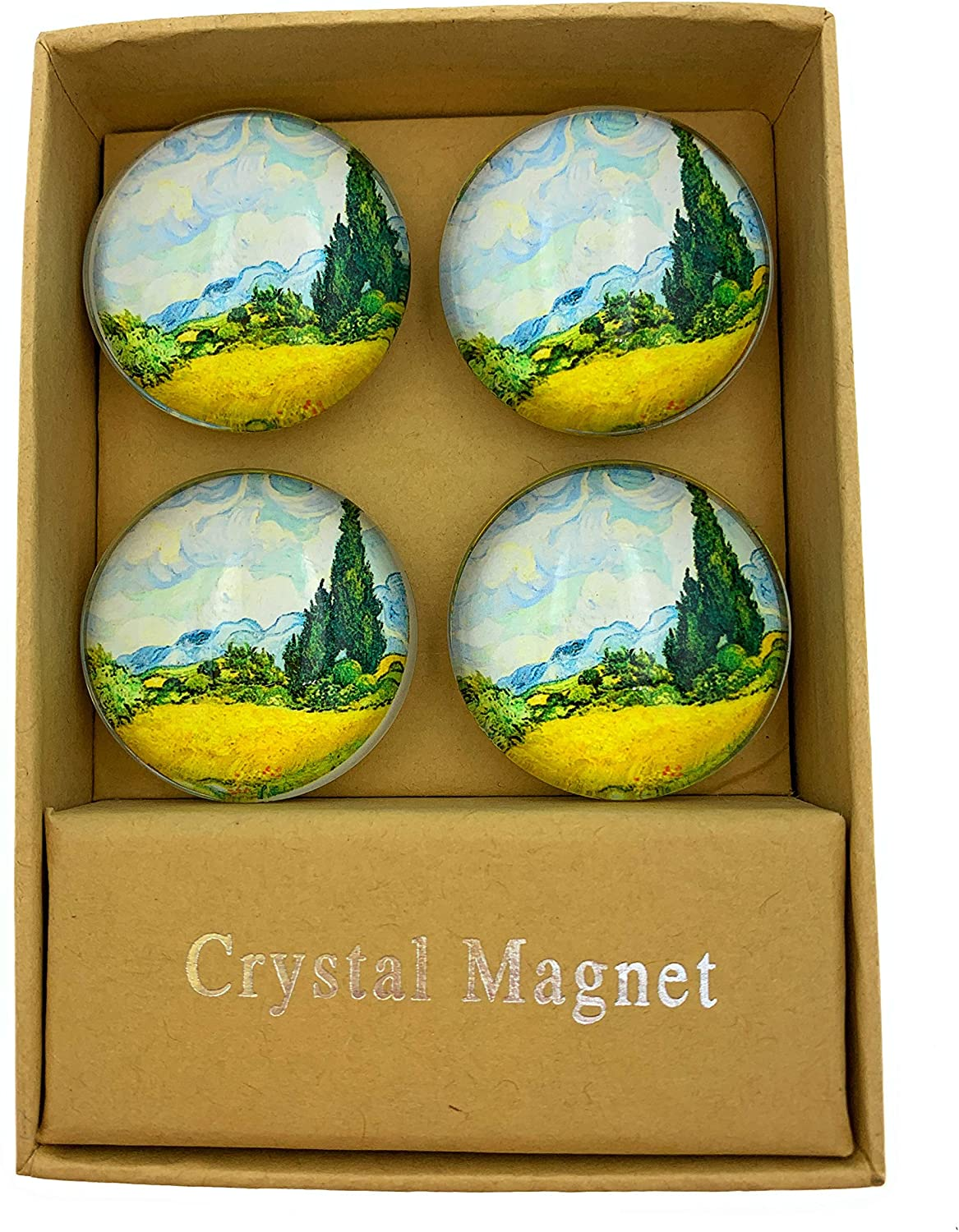 Value Arts Vincent Van Gogh Wheat Field with Cypresses Magnets, Set of 4