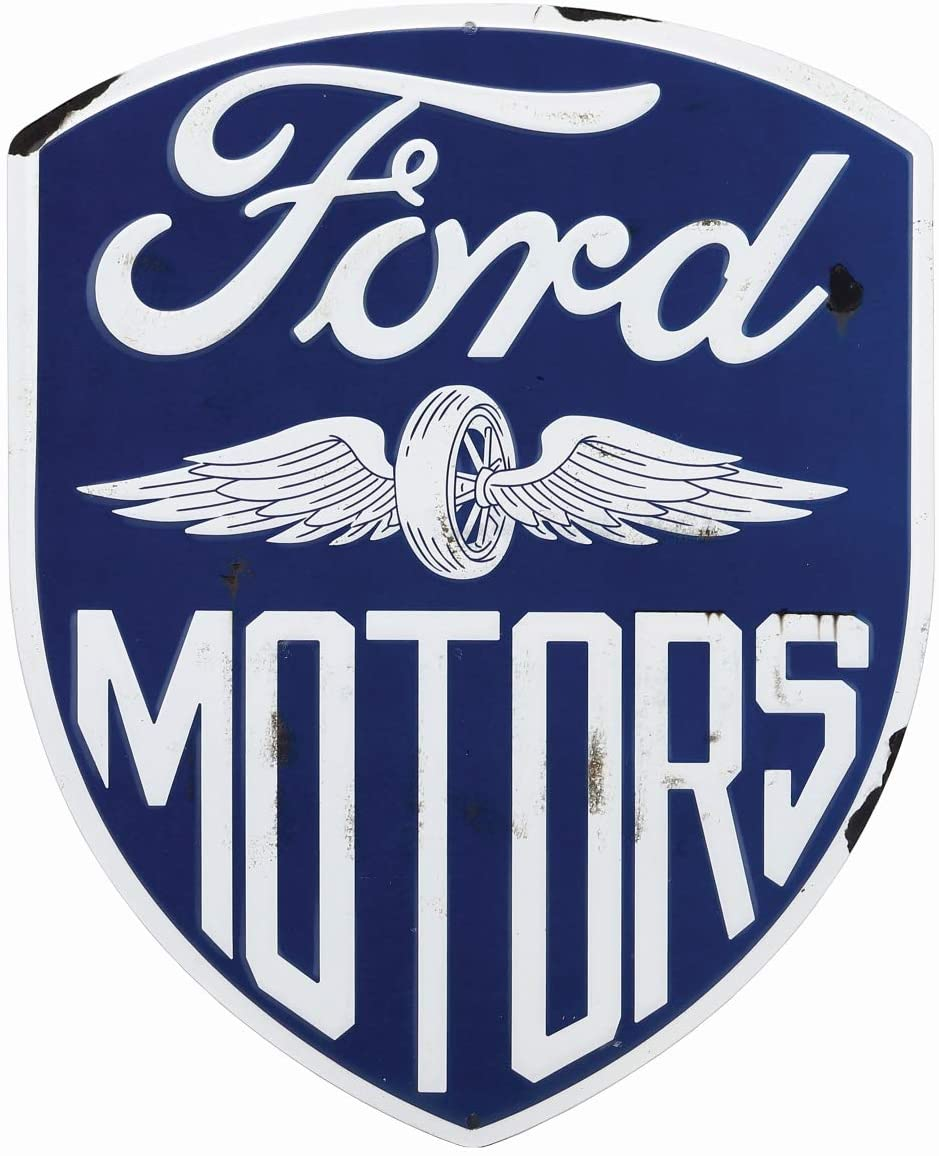 Open Road Brands Ford Blue and White Vintage Tin Metal Wall Art Sign - an Officially Licensed Product Great Addition to Add What You Love to Your Home/Garage Décor