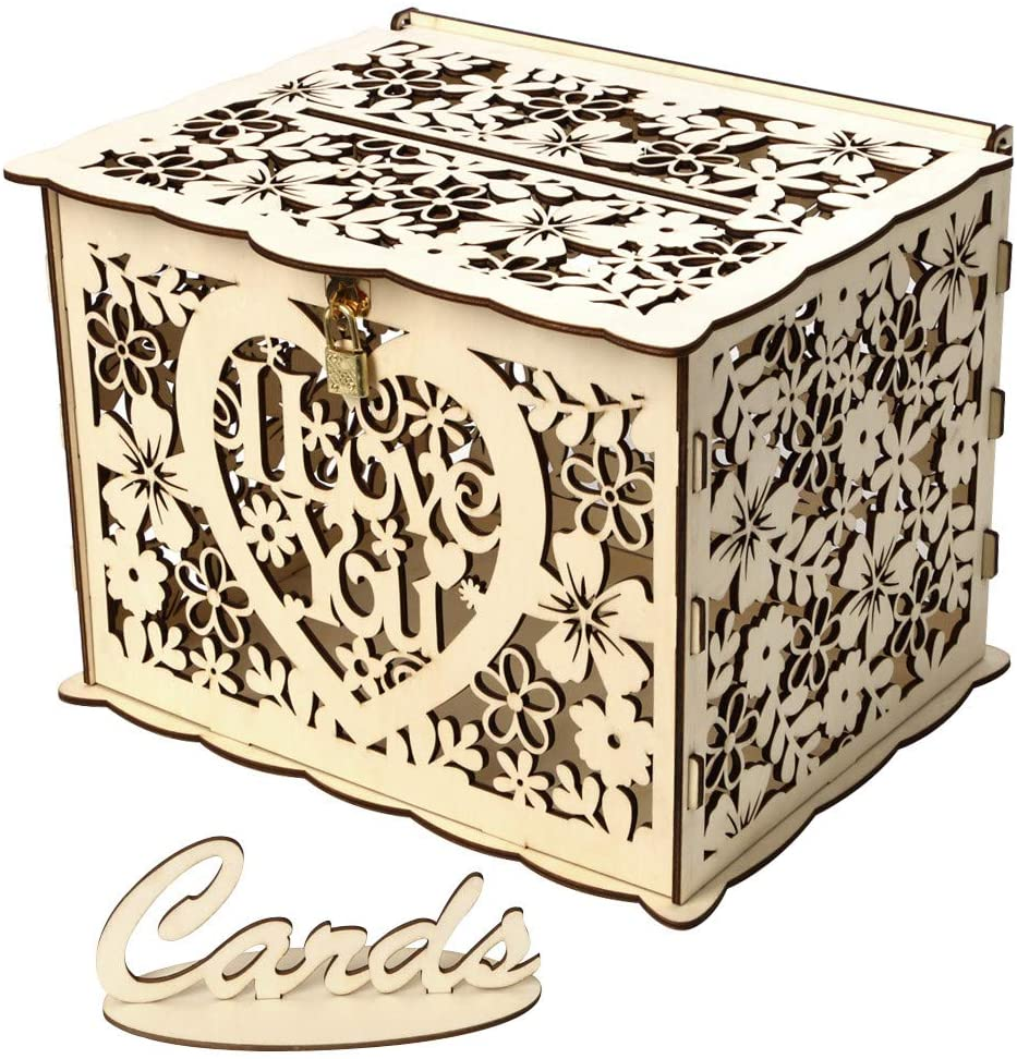 Wedding Card Box with Lock DIY Money Wooden Gift Boxes for Birthday Party, Home Decor, for Christmas New Year (B)