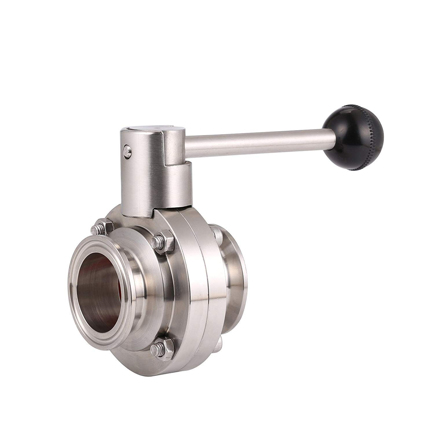 BOKYWOX Sanitary Butterfly Valve with Pull Handle Stainless Steel 316 Tri Clamp Clover (1