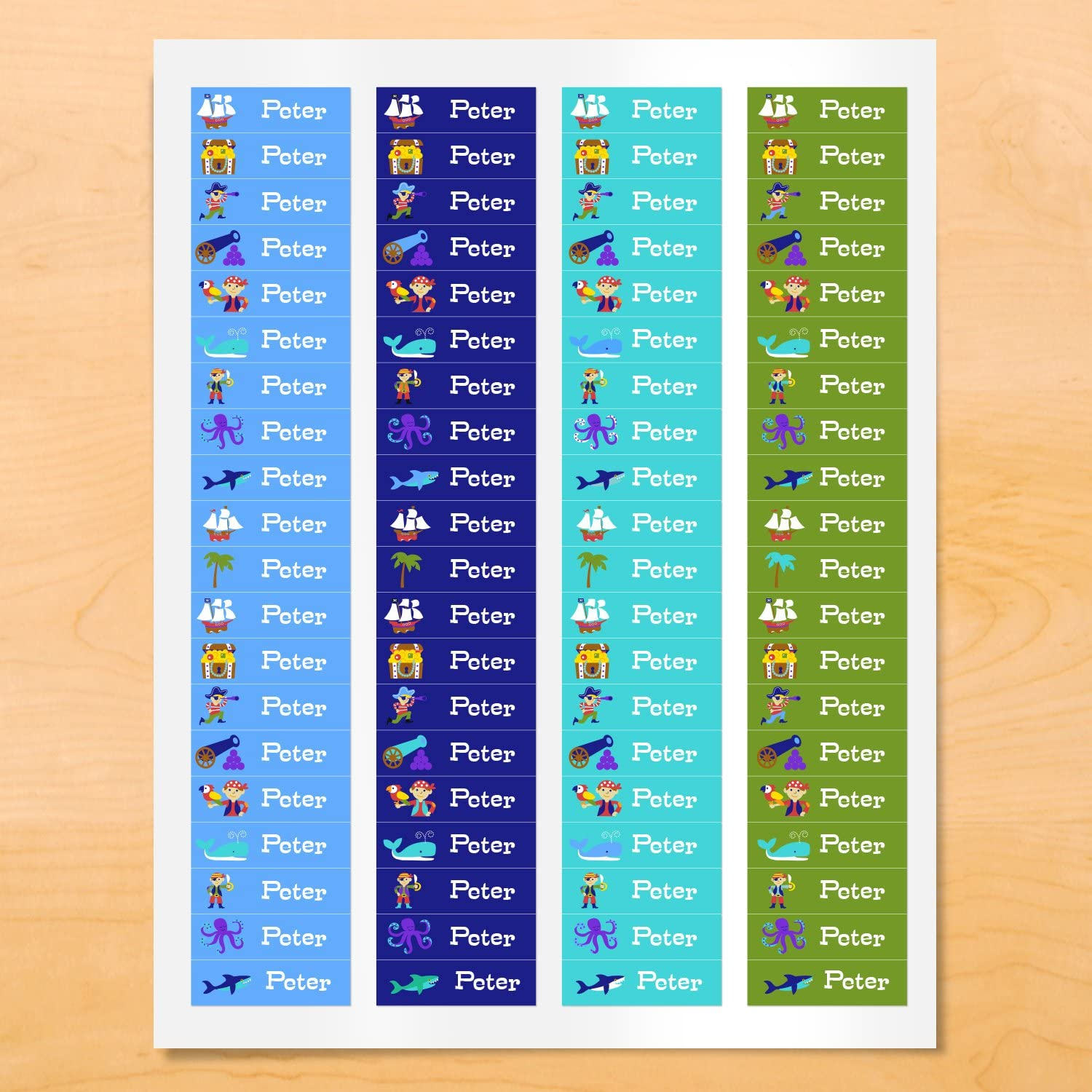 Pirates Personalized Mini Waterproof Waterproof Peel and Stick Labels for School and Camp, 80 Custom Labels