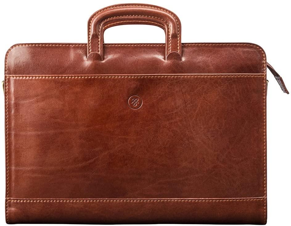Maxwell Scott Italian Crafted Leather Portfolio - Barolo Tan