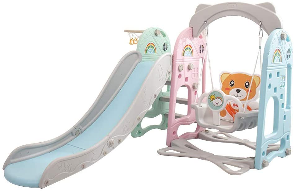 11111111 Toddler Mountaineering and Swing Set - Children's Slide Home Baby Kindergarten Playground Toys - Kids Slide Toys for Indoor and Backyard Baskets (Multicolour)