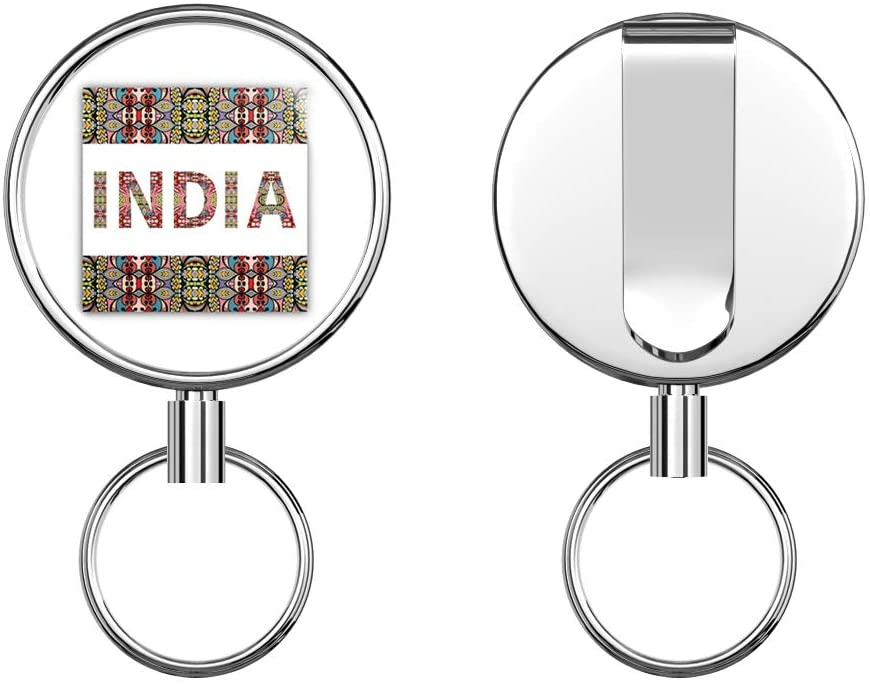 India Patterned Label Round ID Badge Key Card Tag Holder Badge Retractable Metal Reel Badge and Key Holder with Belt Clip