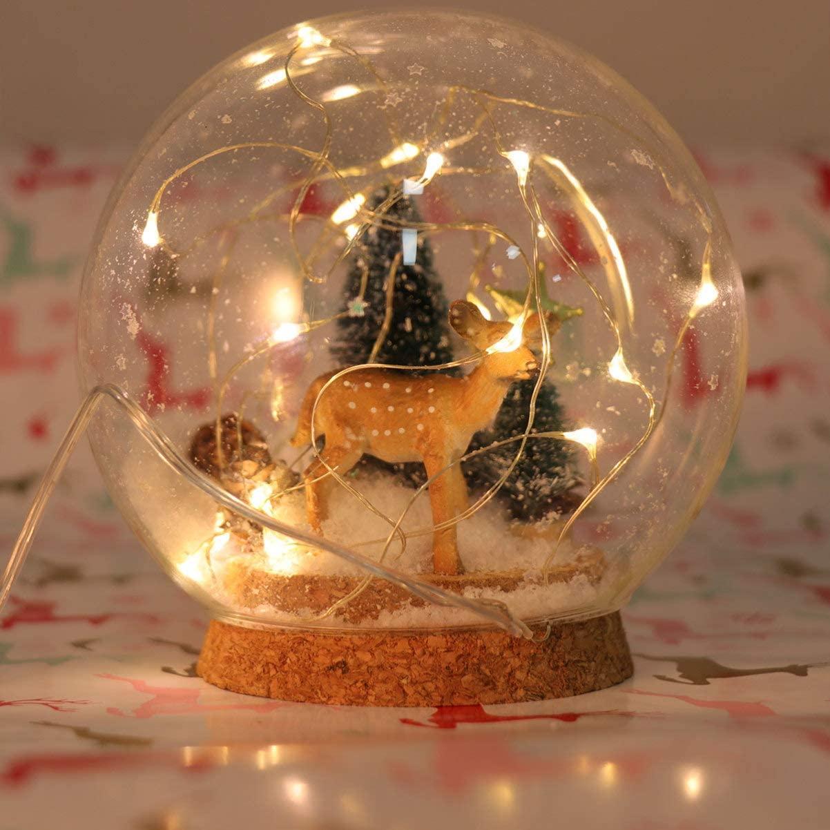 Uonlytech LED Forest Deer Snow Globe Crystal Glass Ball Lights Christmas Ornament Globe Gifts for Kids Room Bedroom Living Room