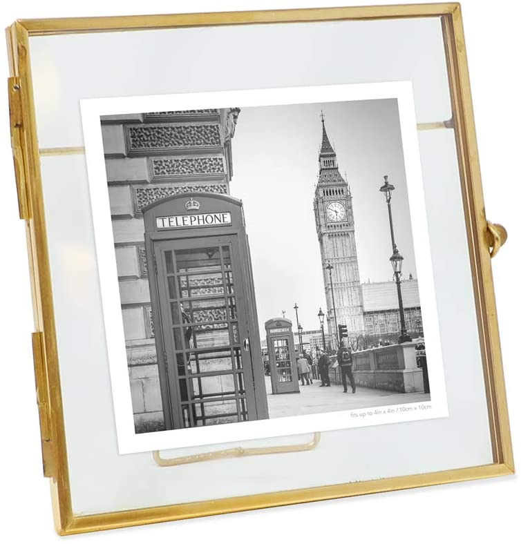 Isaac Jacobs 4x4, Antique Gold, Vintage Style Brass and Glass, Metal, Floating Desk Photo Frame, with Locket Bead Clasp Closure for Pictures Art, More (4x4, Antique Gold)