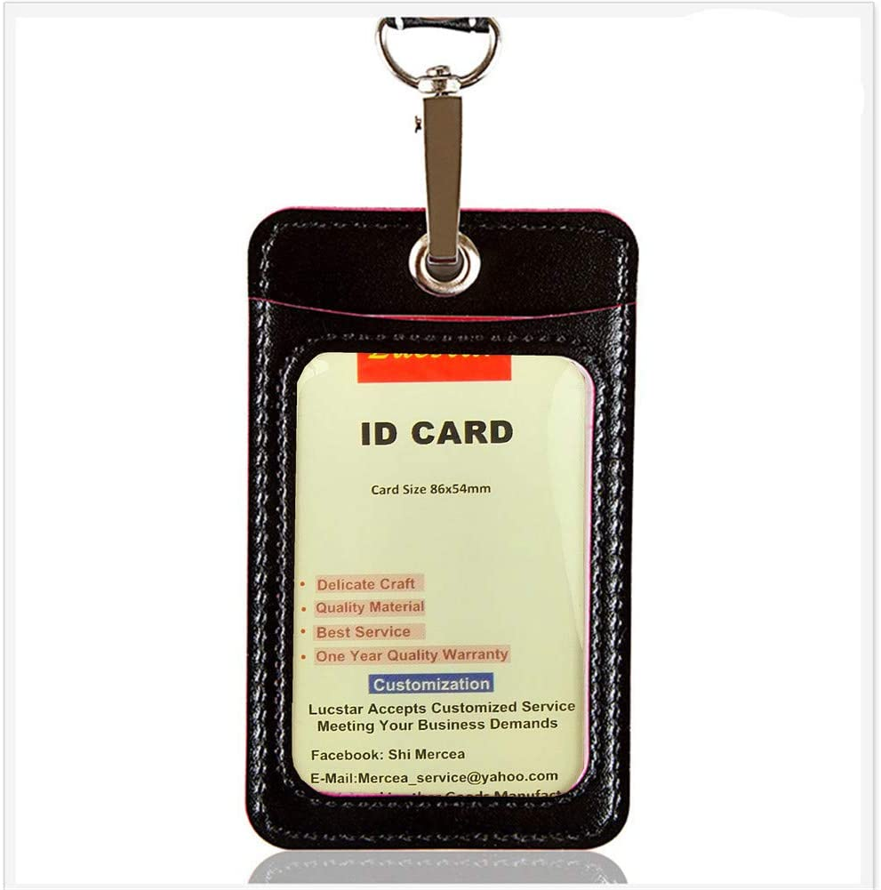Lucstar ID Card Badge Holder with Lanyard Clear Window Quality PU Leather, Simple Thin Light Cards Case2 Slots Back and Front Perfect for Work Permits, Metro,Bus Card, Credit Card Holder(Black)