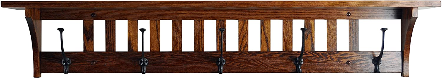 """Mission Style Wall Mounted Coat Rack with Shelf – Wooden Hat Rack – Entryway Organizer with Hooks – Rustic Farmhouse Mounted Wall Rack (5 Hooks, 51.5""""L, Oak Wood, Contact us with Your Stain)"""