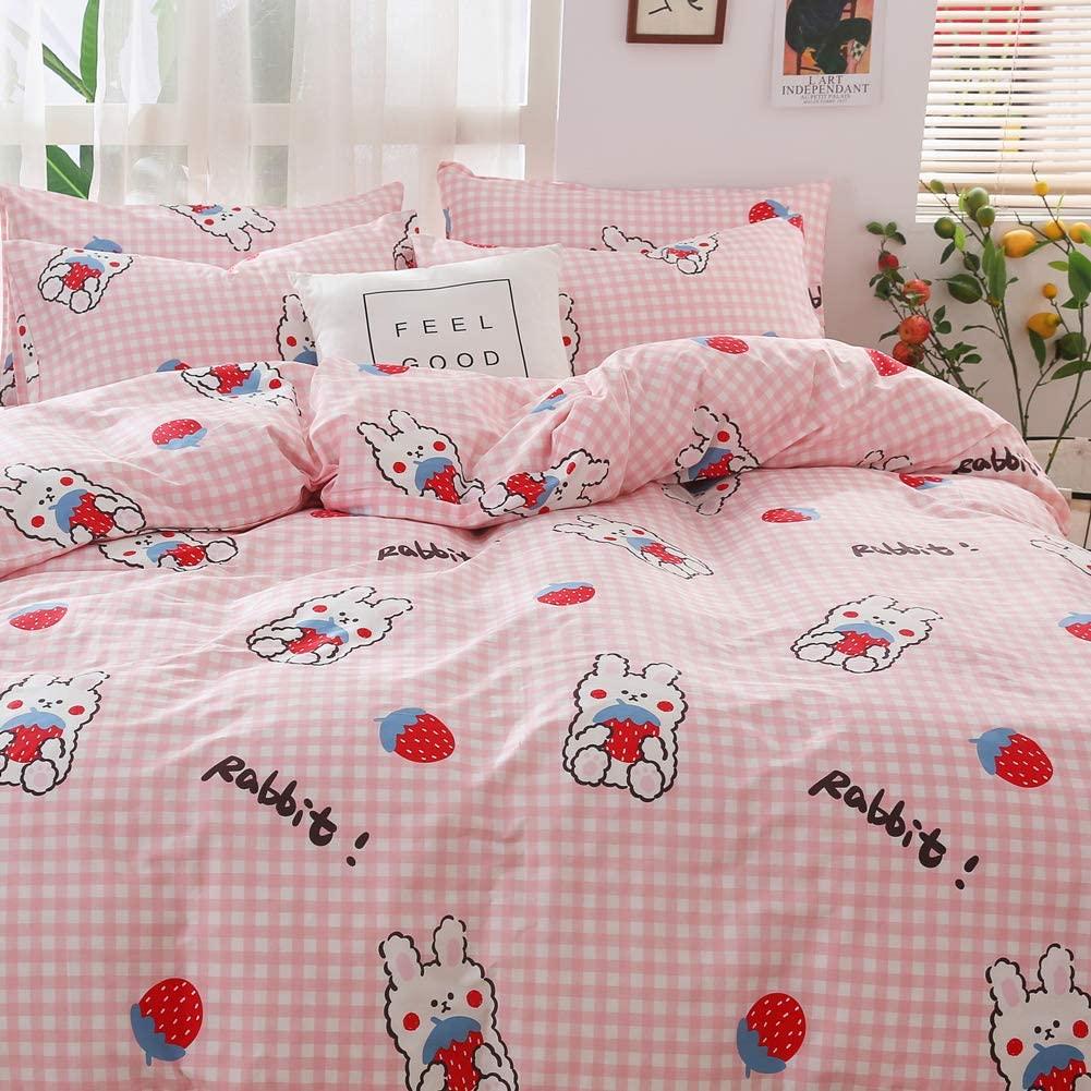 BlueBlue Rabbit Kids Duvet Cover Set Queen, 100% Cotton Bedding for Boys Girls Teens, Cartoon Strawberry Rabbit Pattern Print on Pink Plaid, 1 Full Comforter Cover 2 Pillow Shams (Queen, Strawberry)