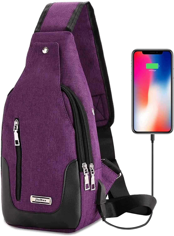 DOUN Lightweight Casual Canvas Unbalance Backpack Crossbody Sling Shoulder Bag Chest Bag with USB Charging Port for Men Women