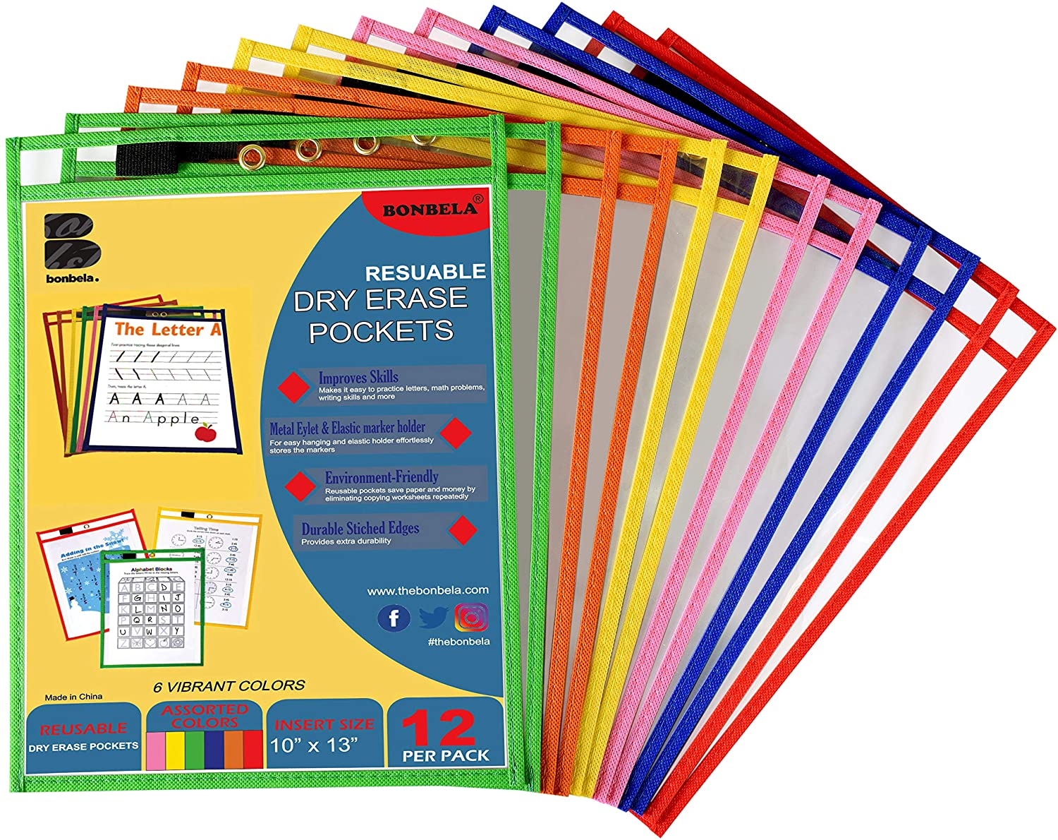 Dry Erase Pockets 12 Pack - Dry Erase Sleeves - Reusable Sheet Protectors - School or Work - Oversized 10 x 13 Inches - Dry Erase Sheets - Job Ticket Holders