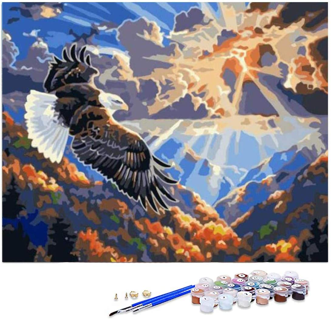 GIEAAO Paint by Numbers Kits for Students Beginner, Oil Painting Bald Eagle Canvas DIY Oil Painting Kit with Paintbrush and Acrylic Pigment, Arts Craft for Home Wall Decor(16x20 inch)