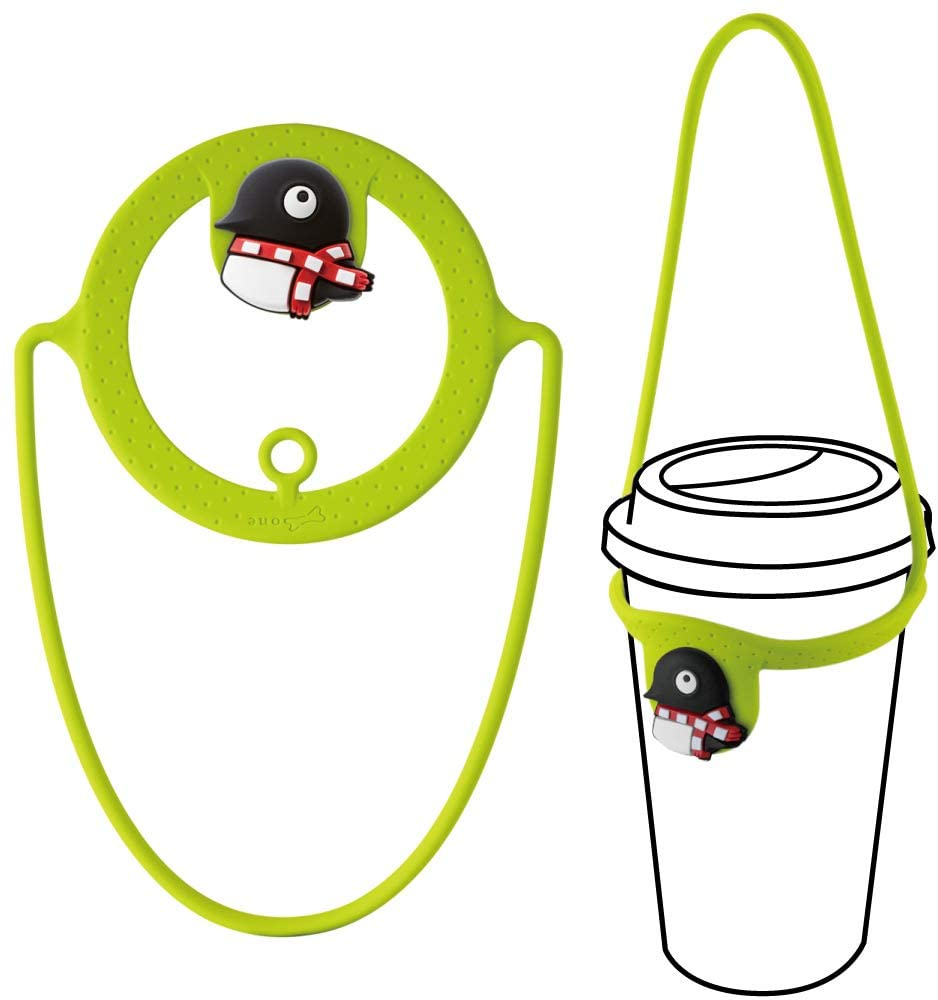 Bone Cup Tie, To-Go Travel Cup Drink Carrier, Reusable Coffee Beverage Holder with Handle Hanger - Maru Penguin (Green)
