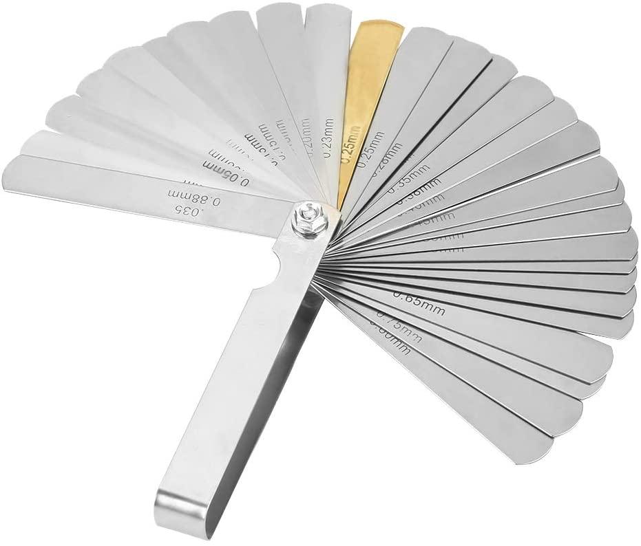 Yosoo Health Gear Stainless Steel Feeler Gauge, 32 Blades Dual Marked Metric and Imperial Gap Feeler Gauge for Measuring Gap Width or Thickness