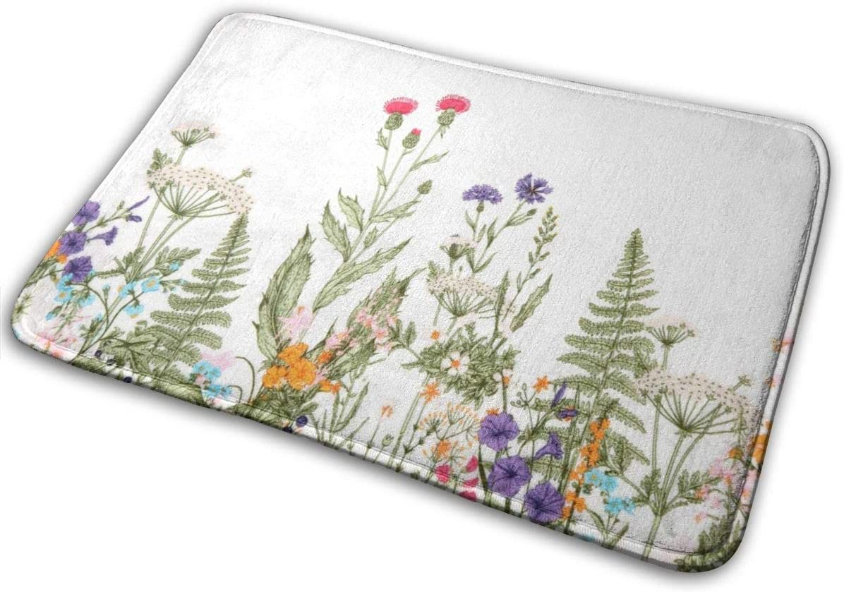 niBBuns Animal Bath Mat, Colorful Floral Green Leaf, Plush Bathroom Decor Mat with Non Slip Backing, 40 x 60 cm