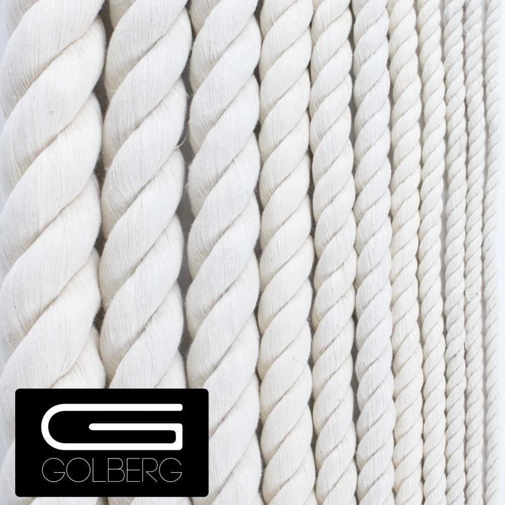 GOLBERG Twisted 100% Natural Cotton Rope – Macramé Crafts (5/16 inch x 10 feet)