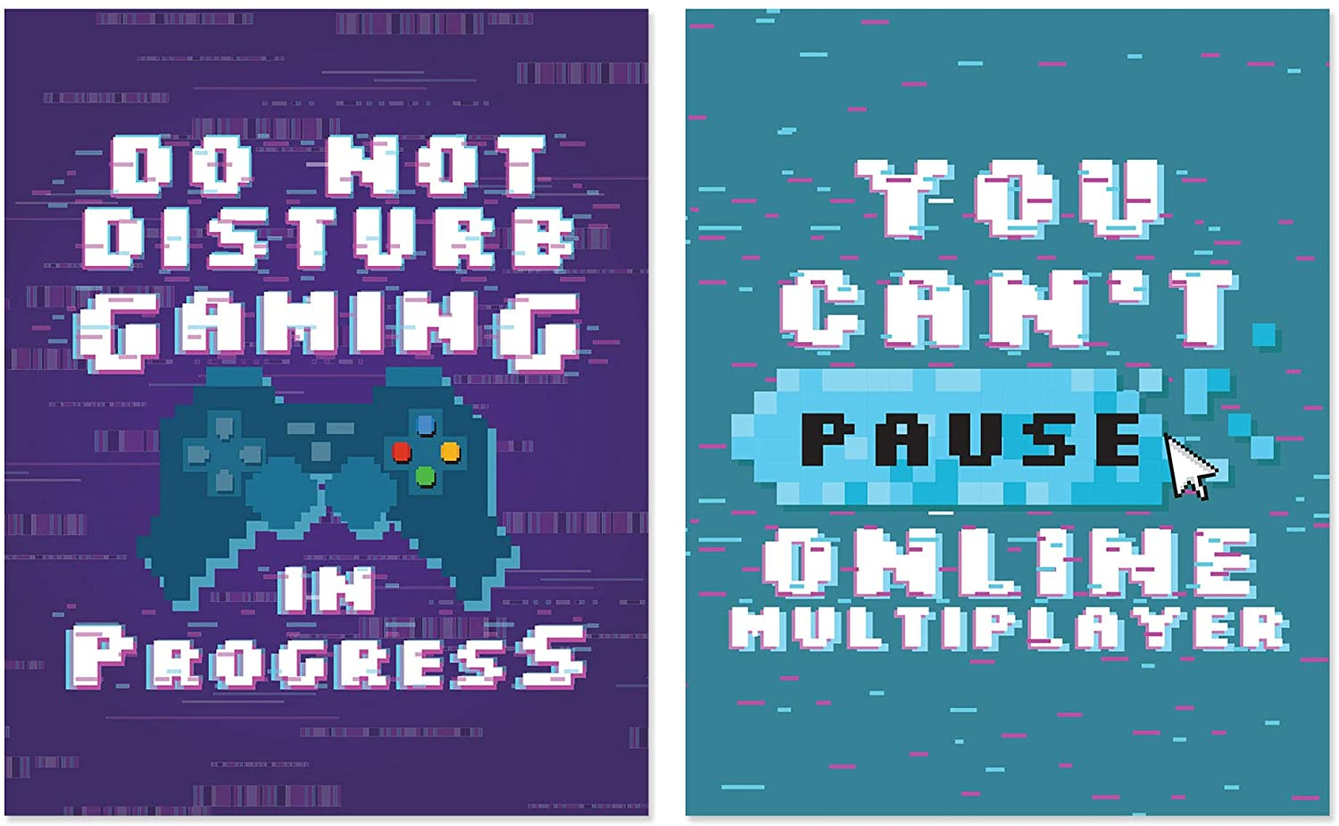 Pixel Video Game Posters - Funny Gaming Quotes Wall Art-Set of 2 Unframed (8x10 inches) Gamer Themed Decor - Gaming Posters for Boys Bedroom Decorations, Gifts, and Birthday Party Decor - Set 6