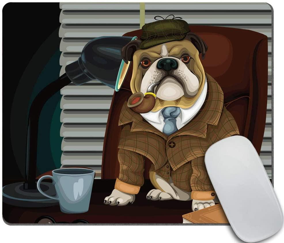 Amcove Funny Mouse Pad, Bulldog Detective,Office Desk Accessories, Bulldog Gifts for Her, Office Decor, Bulldog Mousepad, Desk Decor
