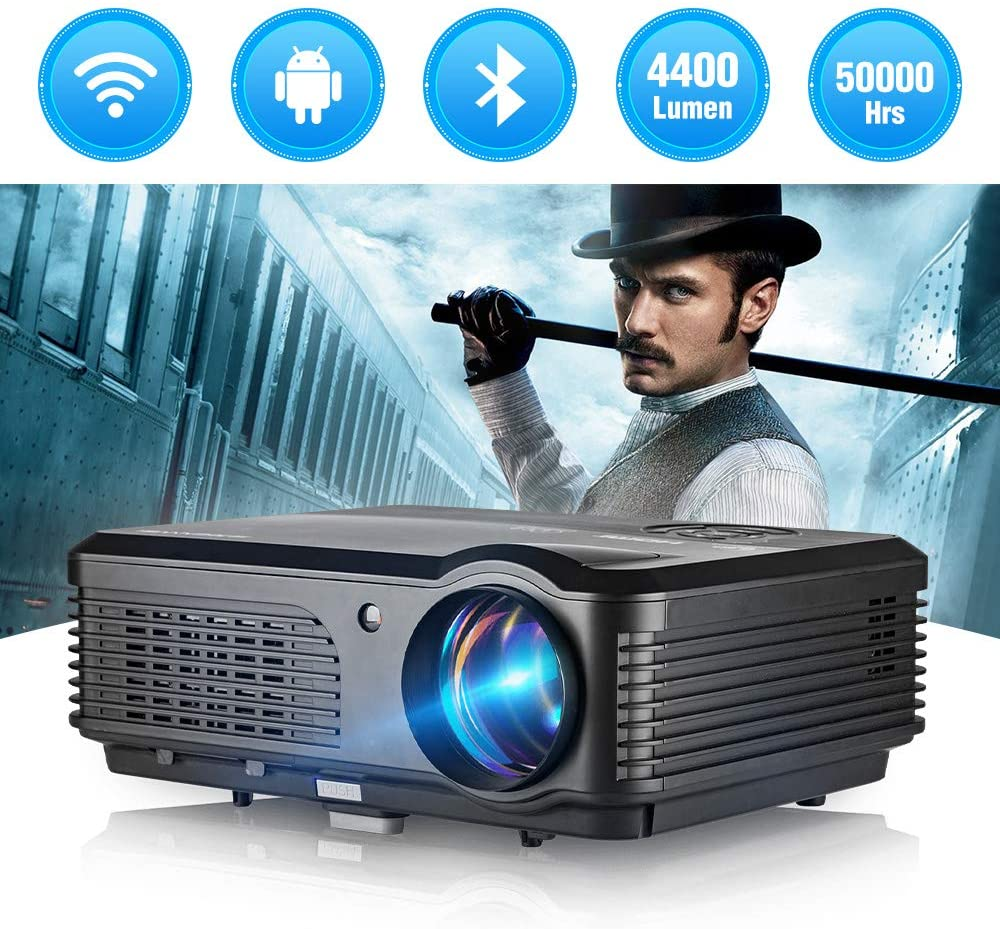 WIKISH 4400 Lumen LED Projector Support 1080p/Bluetooth/Wifi/Android 6.0/Airplay/Zoom, Smart Theater Proyector Compatible with DVD Player Fire TV Stick PS4 Tablet Laptop Roku HDMI USB VGA AV