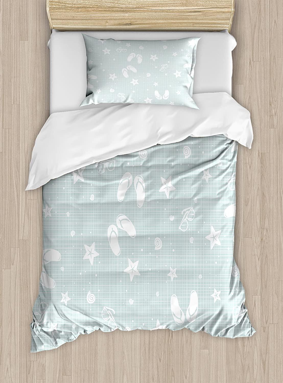 Ambesonne Aqua Duvet Cover Set, Beach Theme Design Shells Starfishes Flip Flops Glasses Summer Holiday Image, Decorative 2 Piece Bedding Set with 1 Pillow Sham, Twin Size, Seafoam White