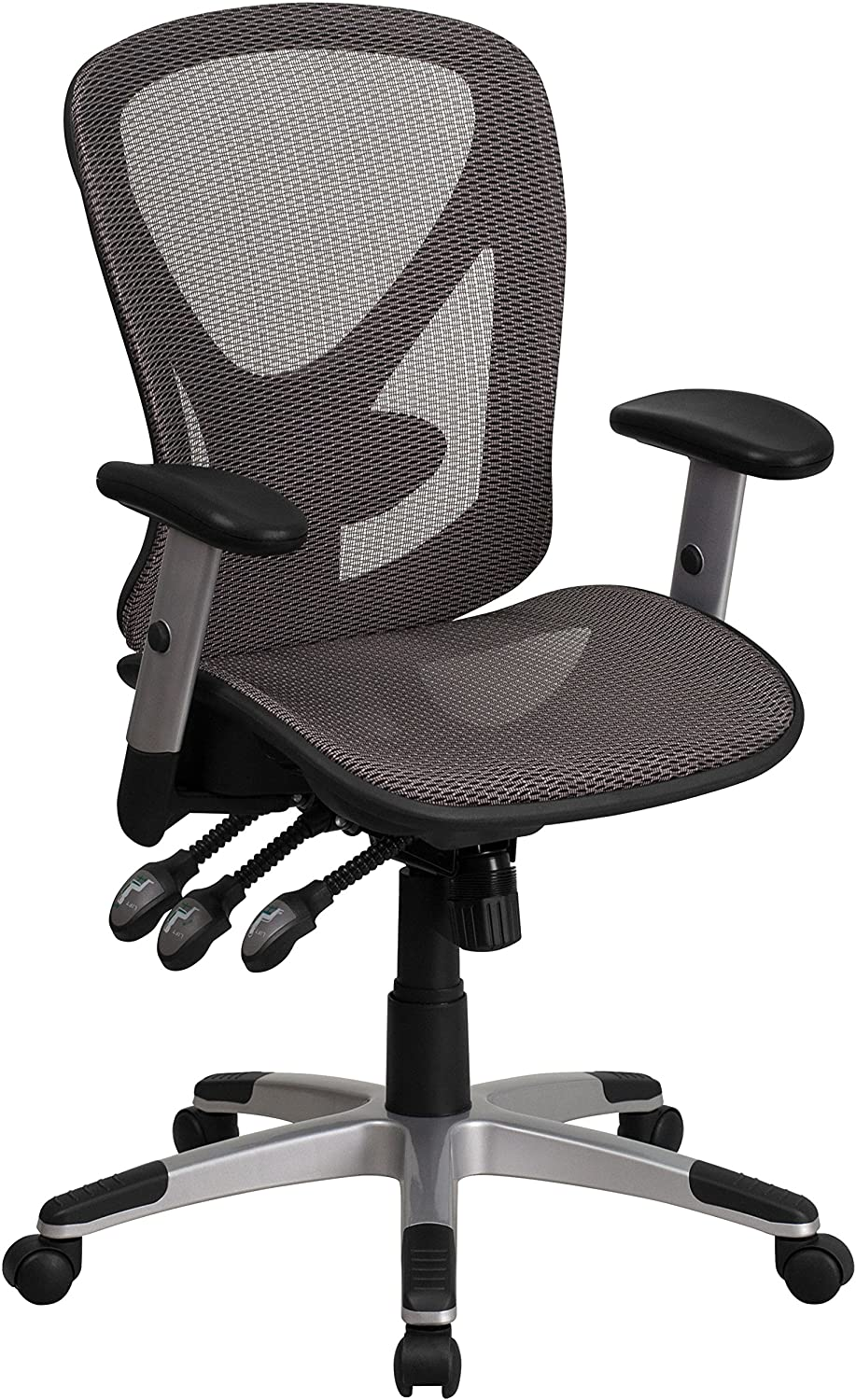 Flash Furniture Mid-Back Transparent Gray Mesh Multifunction Executive Swivel Ergonomic Office Chair with Adjustable Arms