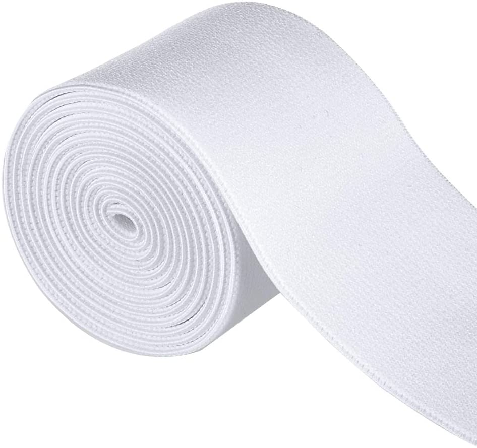 Gourd 5 Yards White Plush Elastic,Soft Comfortable Sewing Elastic (2-inch)