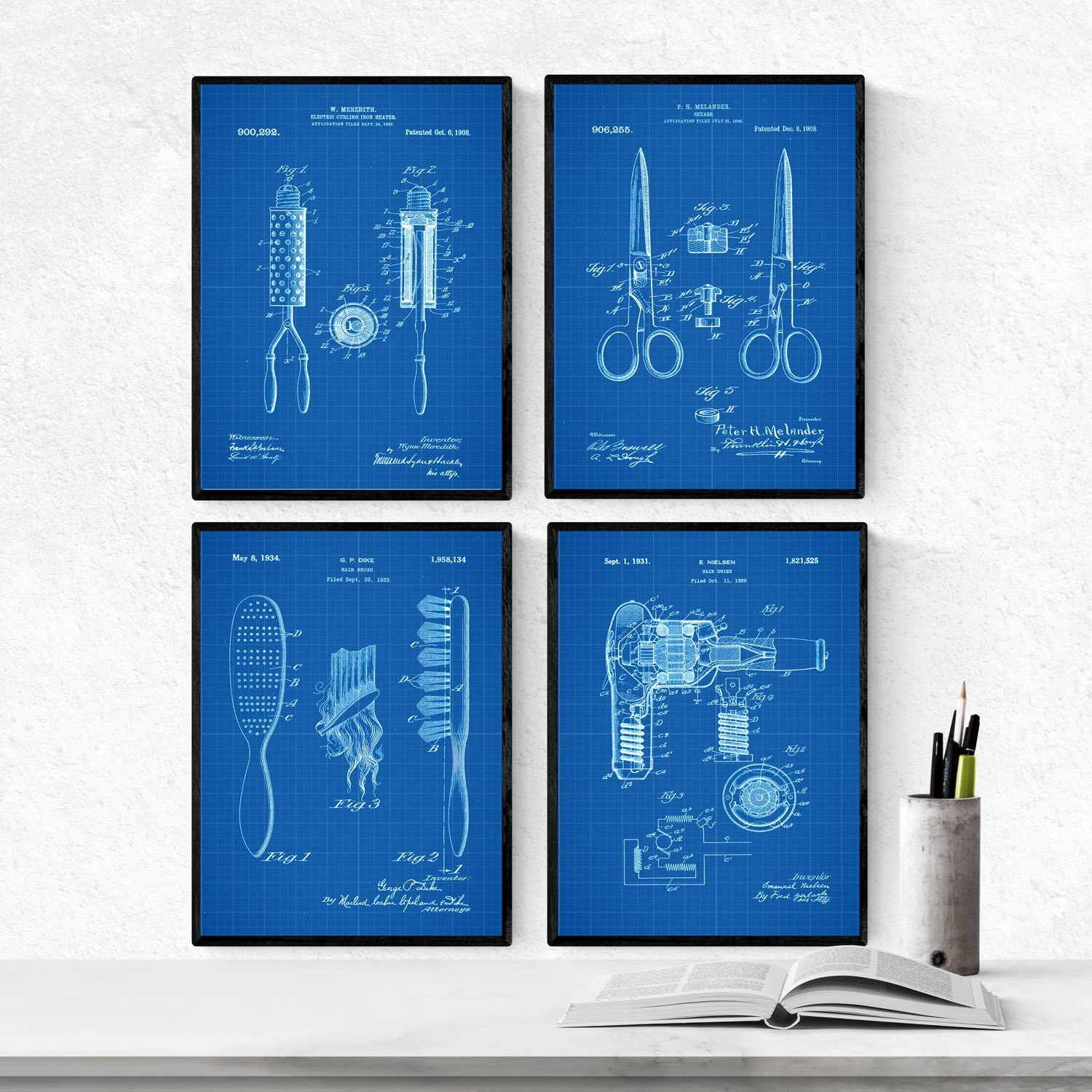 Nacnic Prints Vintage Patents Barbershop - Set of 4-250g Paper - Beautiful Poster Painting for Home Office Living Room