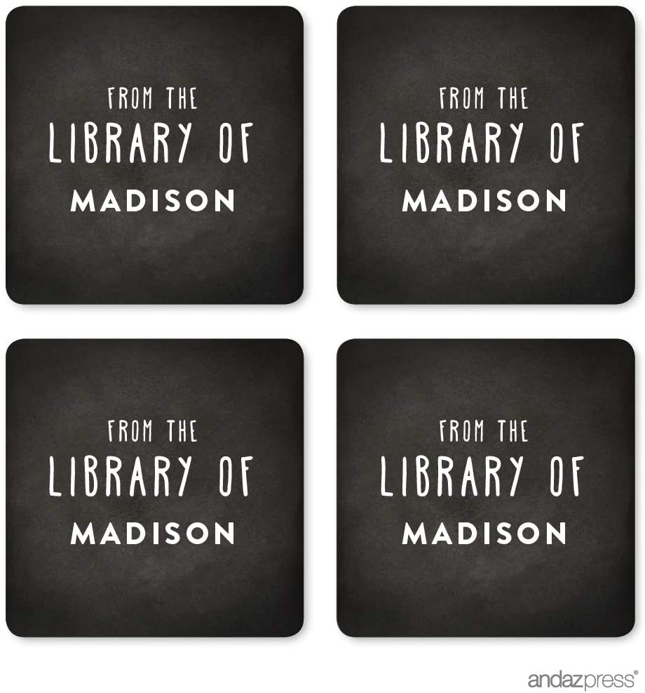 Andaz Press Personalized Square Book Label Stickers, from The Library of, Chalkboard, 40-Pack, Custom Name