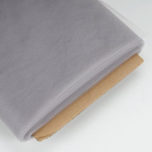 BBCrafts Silver 54 Inch Tulle Fabric Bolt 54 inch 40 Yards