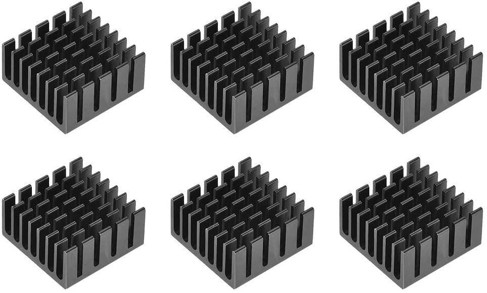 uxcell 10x20x20mm Black Aluminum Heatsink Thermal Adhesive Pad Cooler for Cooling 3D Printers 6Pcs