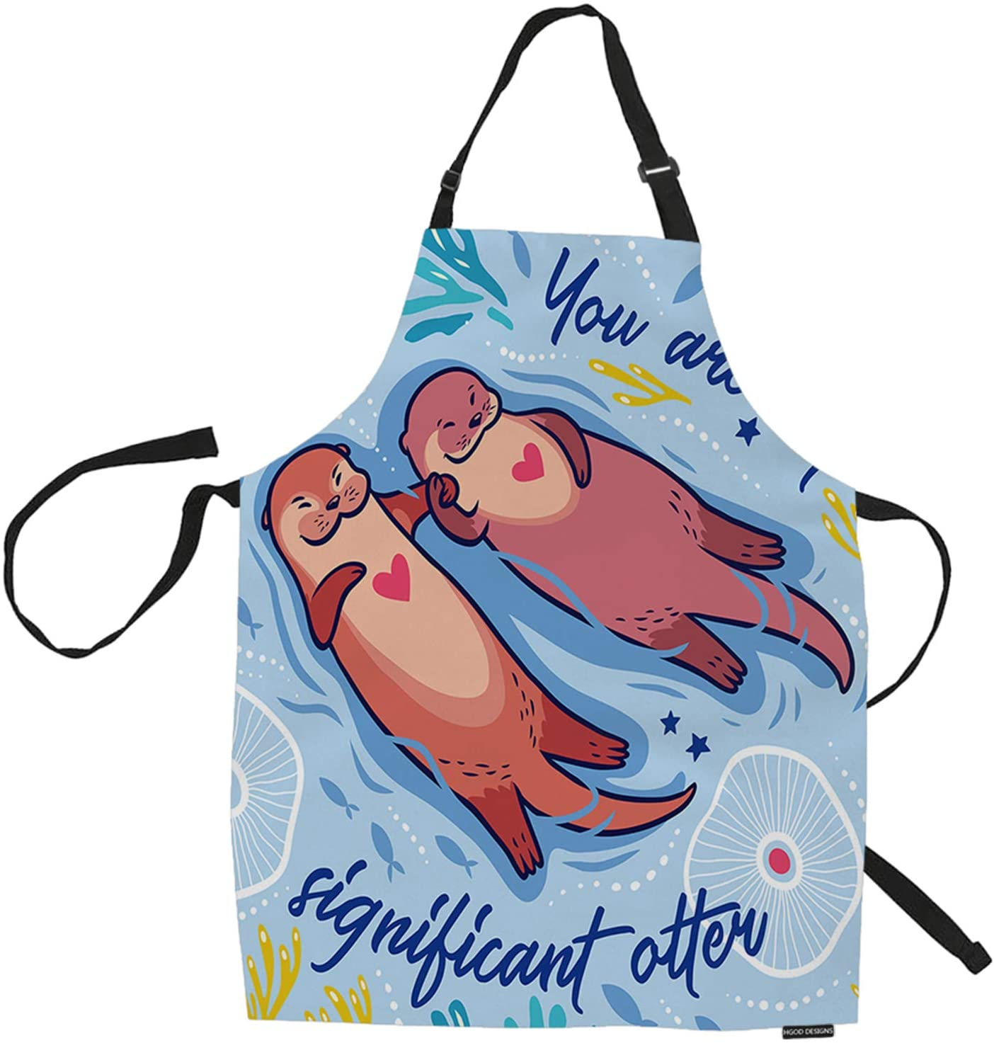 HGOD DESIGNS Otters Kitchen Apron,Funny Cartoon Otters in The Sea with You are My Significant Otter Quotes Kitchen Aprons for Women Men for Cooking Gardening Adjustable Home Bibs,Adult Size